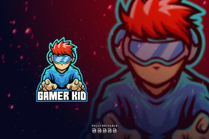 Gamer Kid Maskottchen Logo