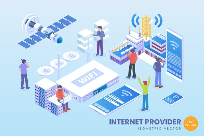 Cover Image For Isometric Internet Provider Vector Concept