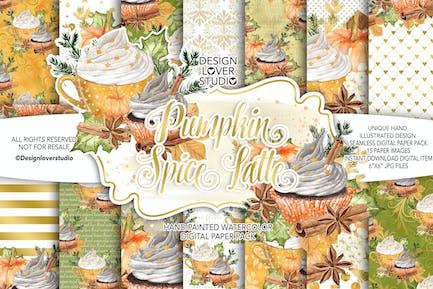 Pumpkin Spice Latte digital paper pack