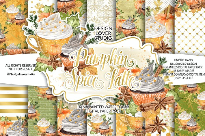 Thumbnail for Pumpkin Spice Latte digital paper pack
