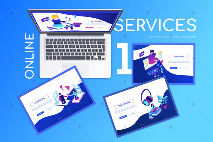 Online services - modern colorful web banner
