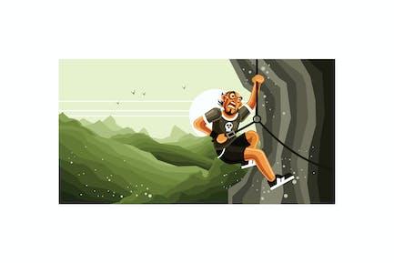 Rock Climber Vector Graphics Illustration