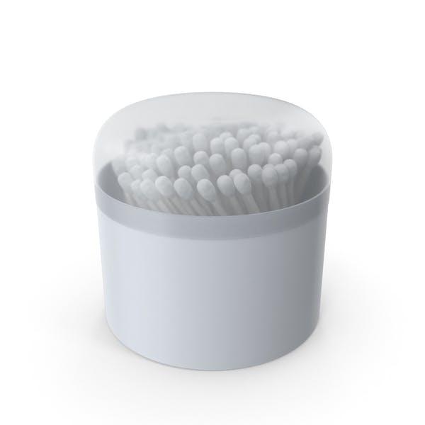 Capullos de algodón en caja redonda