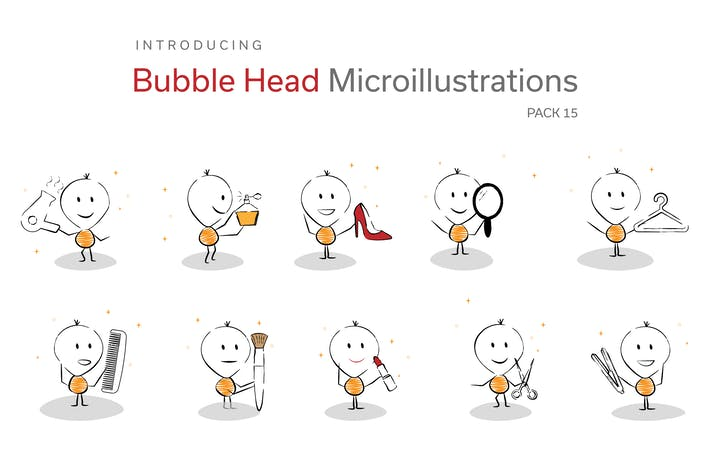 Thumbnail for Bubble Head Micro Illustrations - Beauty Pack
