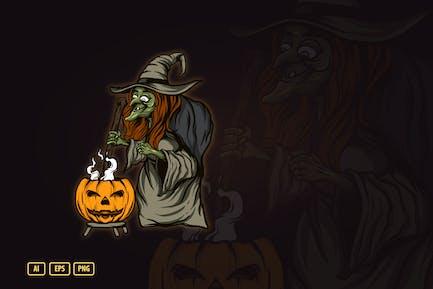 Ведьма Хэллоуин Илюстрация V.2