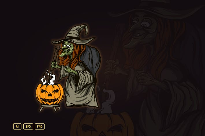 Thumbnail for WITCH HALLOWEEN ILUSTRATION V.2