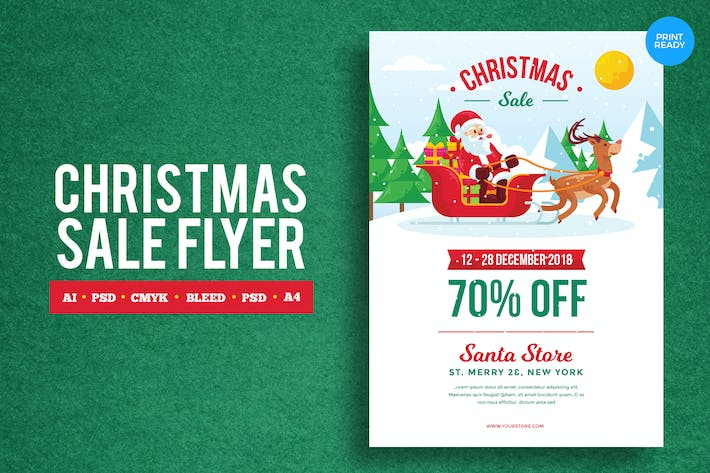Thumbnail for Merry Christmas Sale Flyer PSD and Vector Vol.2