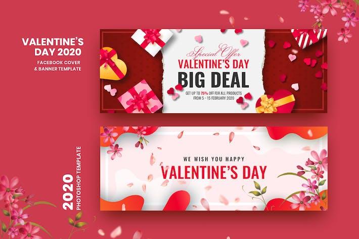 Thumbnail for Valentine Facebook Cover & Banner Vorlage