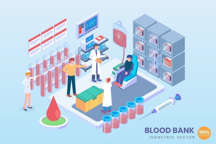 Thumbnail for Isometric Blood Bank Vector Concept