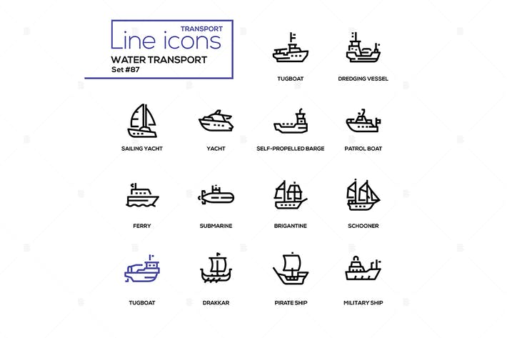 Thumbnail for Water transport - line design icons set