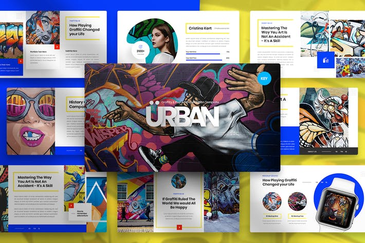 Thumbnail for Urban - Graffiti & Pop Art Keynote Template
