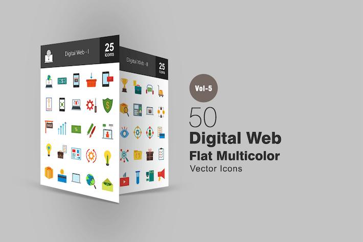 Thumbnail for 50 Digital Web Flat Multicolor Icons