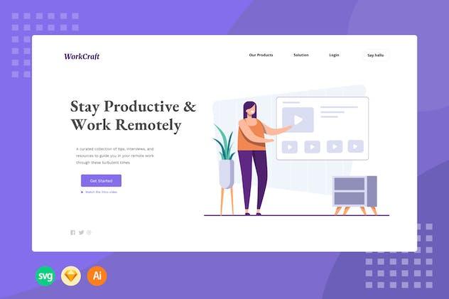 Productive in Home - Illustration Web Header