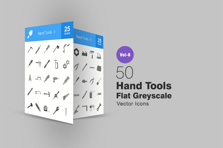 Thumbnail for 50 Hand Tools Flat Greyscale Icons