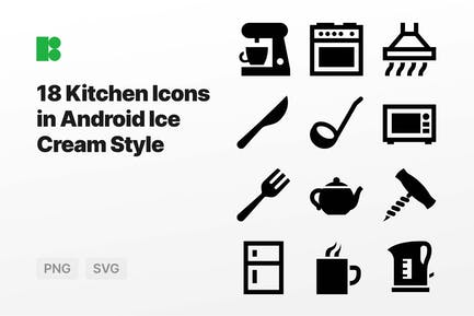 Kitchen Icons in Android Ice Cream Style