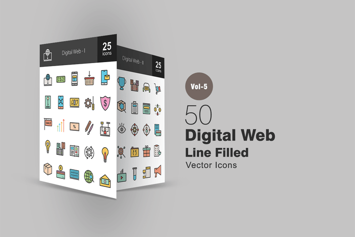 Thumbnail for 50 Digital Web Line Filled Icons