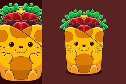 Cute Wrap Cat Vector Cartoon Style