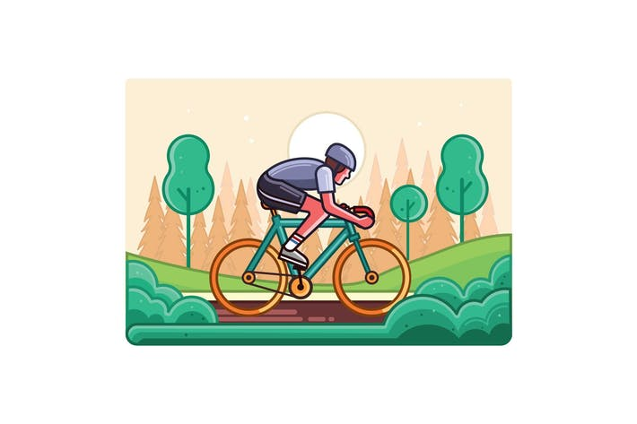 Thumbnail for Cyclist Line Art Graphics Illustration