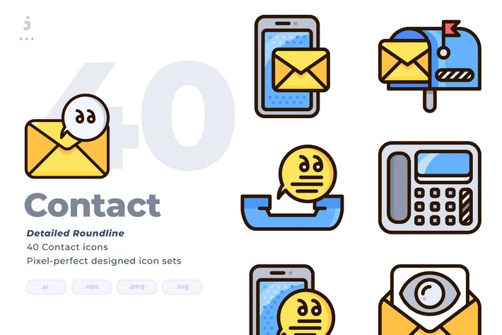Thumbnail for 40 Contact Icon set - Detailed Round line