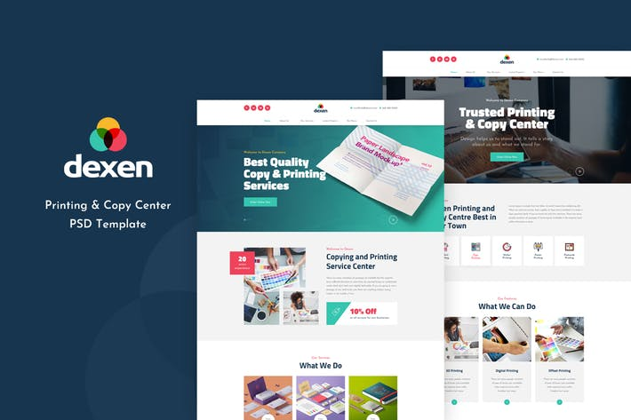 Cover Image For Dexen - Printing and Copy Center PSD Template