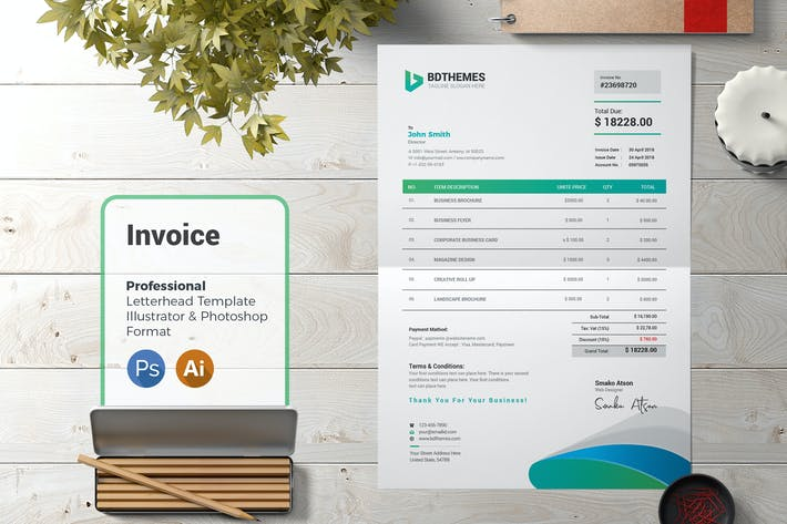 Thumbnail for Business Invoice Template 02