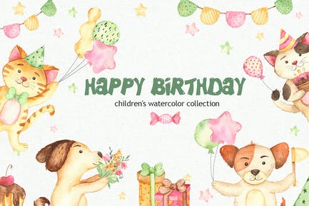 Watercolor Happy Birthday Dog and Cat Clipart