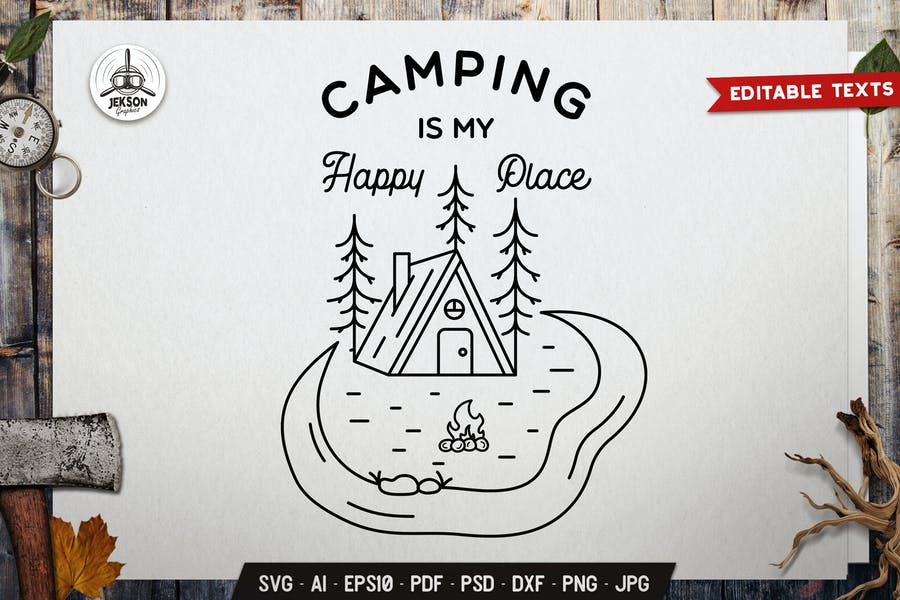 Summer Line Art Graphics. Camping Badge Design