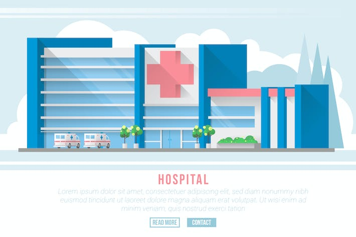 Thumbnail for Hospital - Vector Landscape & Building