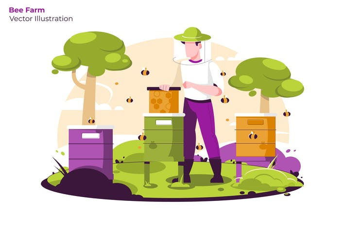 Cover Image For Bee Farm - Vector Illustration