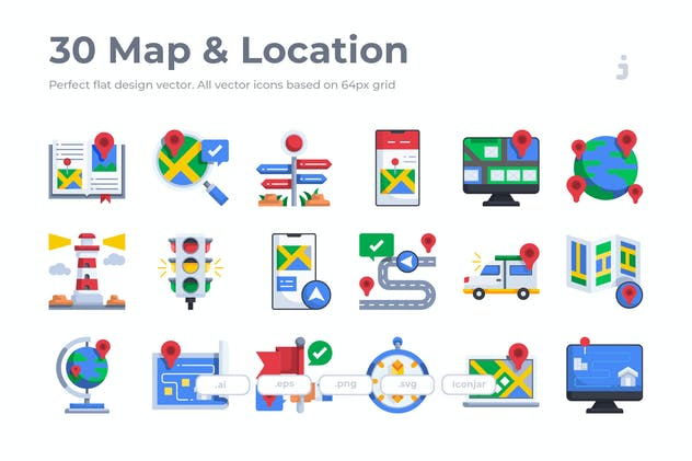 30 Map and Location Icons - Flat