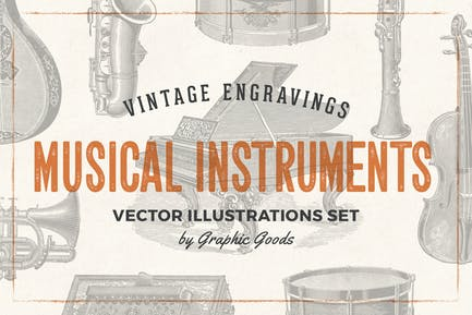 Musical Instruments - Engraving Illustration Set