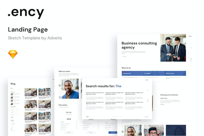 Thumbnail for Ency - Landing Page Sketch Template