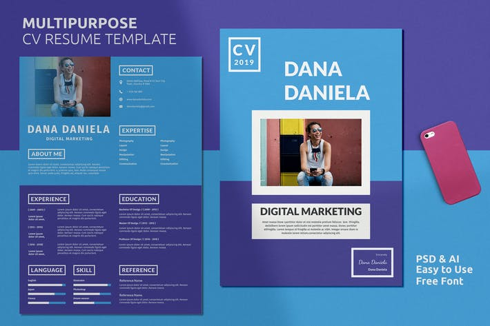 Thumbnail For Resume CV Template Vol 22