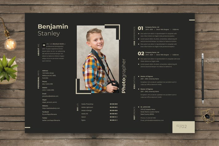 Cover Image For Photographer Resume  / CV Template 41
