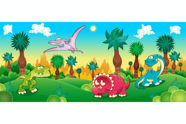 Green Forest with Dinosaurs