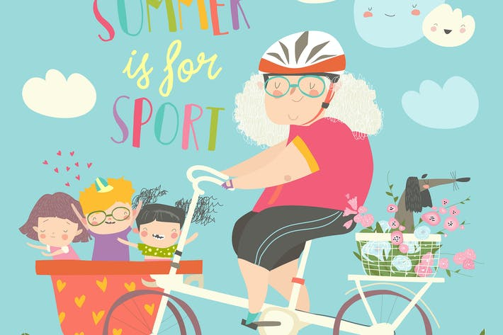 Thumbnail for Sporty grandmother riding bicycle with her grandch