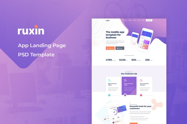 Ruxin - App Landing Page PSD Template