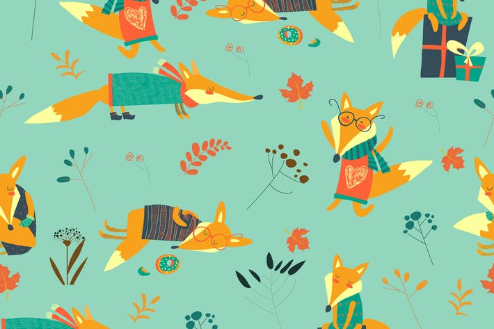 Thumbnail for Vector cute foxes seamless pattern with autumn