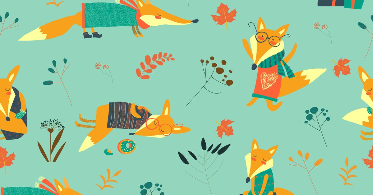 Download Vector cute foxes seamless pattern with autumn by masastarus