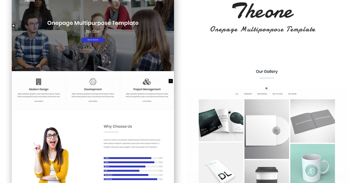 Download Theone - Onepage Multiporpose Template by on3-step