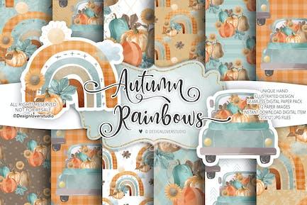 Autumn Rainbows digital paper pack