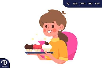 Ilustración de mujer con cupcakes