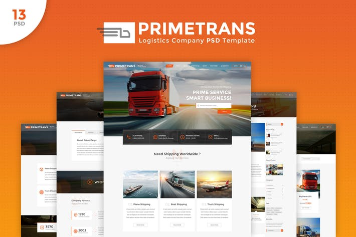 Thumbnail for PrimeTrans - Logistics PSD Template