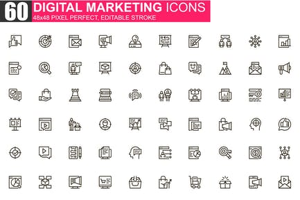 Digital Marketing Thin Line Icons Pack