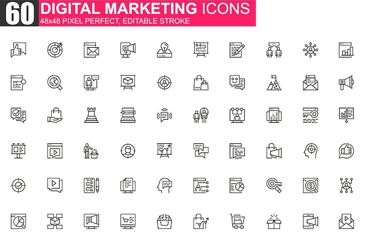 Thumbnail for Digital Marketing Thin Line Icons Pack