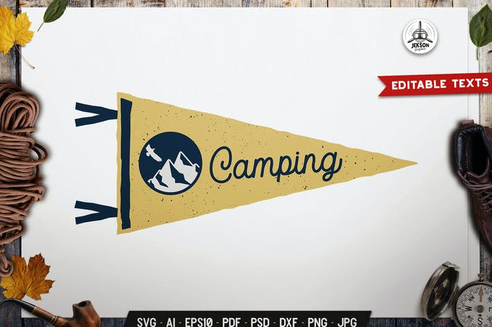 Thumbnail for Camping Pennant Label Mountain Badge Design