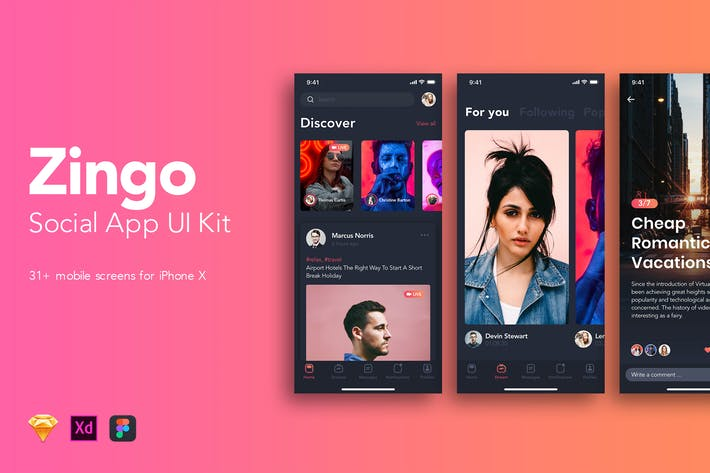Thumbnail for Zingo - Social App UI Kit