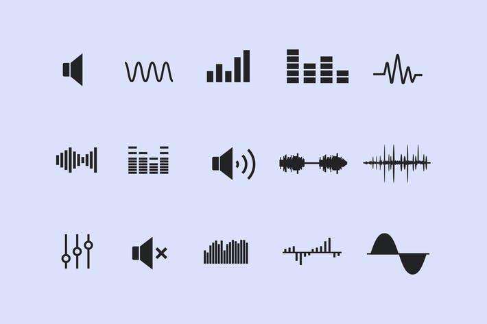 Thumbnail for 15 Sound Wave Icons