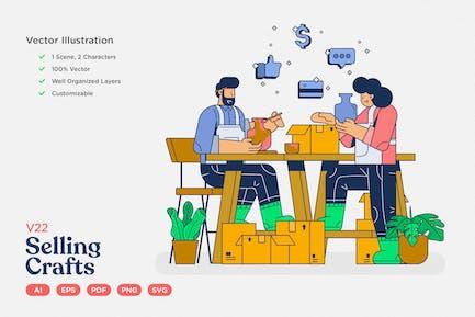 E-commerce Vector Illustration: Selling Crafts