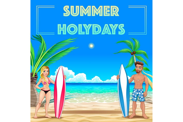 Cover Image For Summer Poster for Holidays with Surfers and Sea